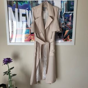 H&M Open Drape Belted Sleeveless Trench Coat 4